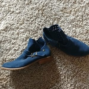 Blue Suede Booties by Restricted Size 10